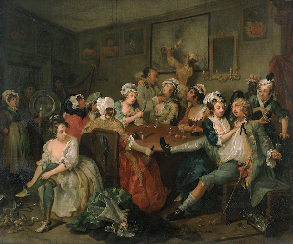 William Hogarth (1697-1764), A Rake's Progress, 3: The Orgy. Oil on canvas, 1734. © The Trustees of Sir John Soane's Museum.