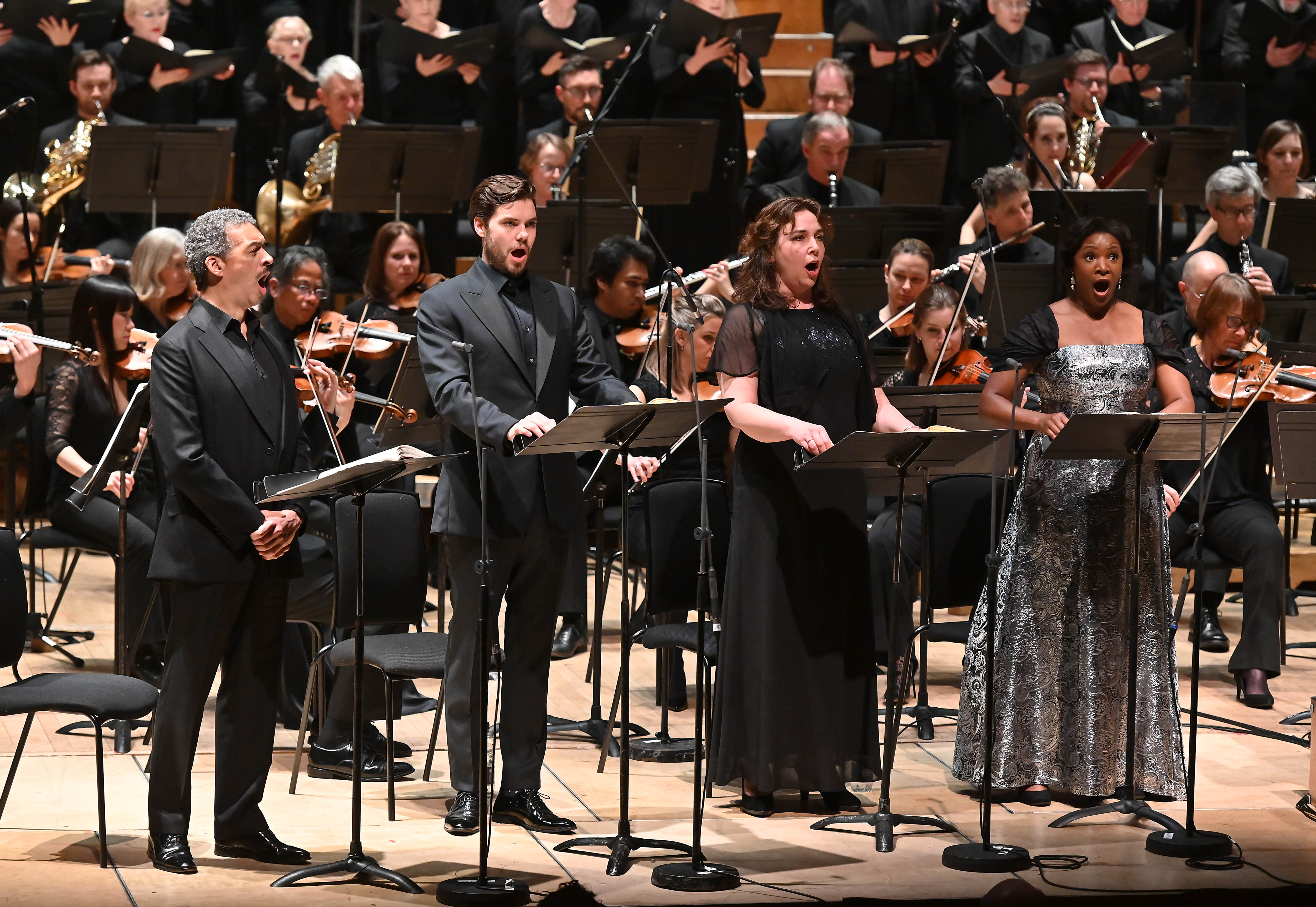 From left to right: Roderick Williams, Thomas Atkins, Christine Rice and Elizabeth Llewelyn in Beethoven's Missa solemnis