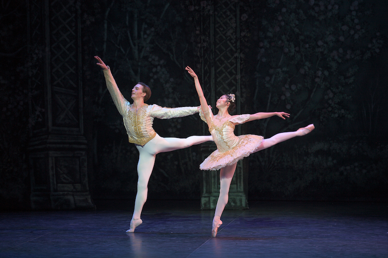 Shiori Kase as Clara and Joseph Caley as the Nephew in English National Ballet's Nutcracker © Laurent Liotardo