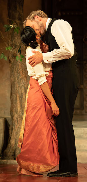 Anjana Vasan as Niru and Elliot Cowan as Tom in A Doll's House