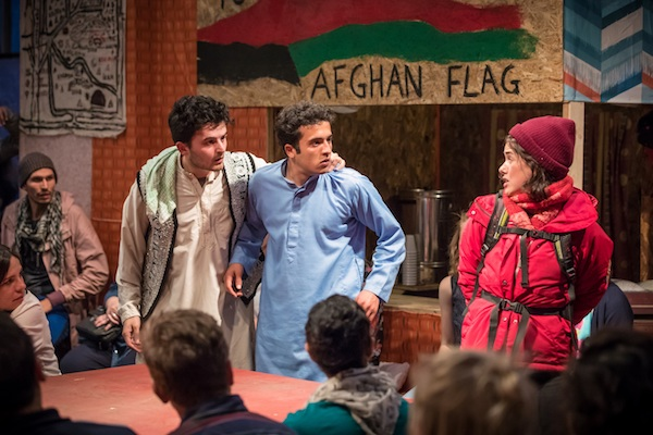 Elham Ehsas as Maz, Mohammad Amiri as Norullah, Rachel Redford as Beth © Marc Brenner
