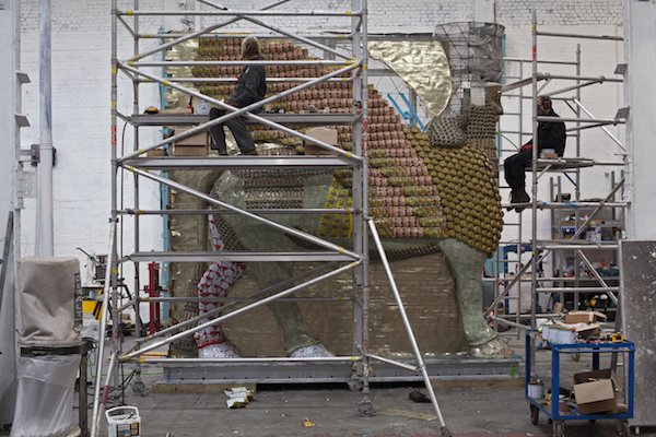 The Lamassu being constructed in the workshop © Gautier DeBlonde