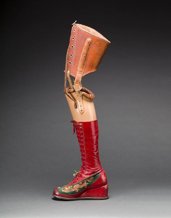Prosthetic leg with leather boot Photograph Javier Hinojosa. Museo Frida Kahlo. © Diego Riviera and Frida Kahlo Archives