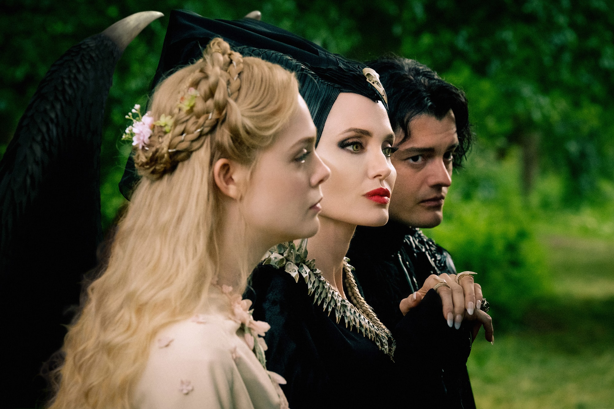Angelina Jolie, Elle Fanning and Sam Riley in Maleficent: Mistress of Evil