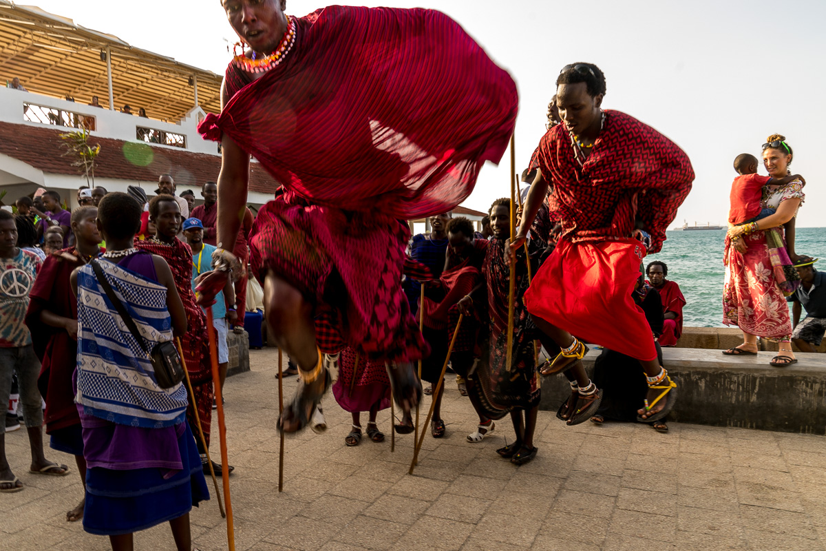 Masai boys doing the watutsi during at the end of the festival parade © Andy Morgan