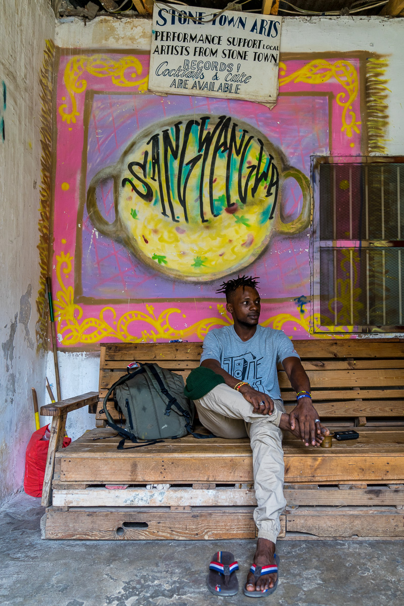 Rapper Ison Mistari at the HQ of Stone Town Records  © Andy Morgan