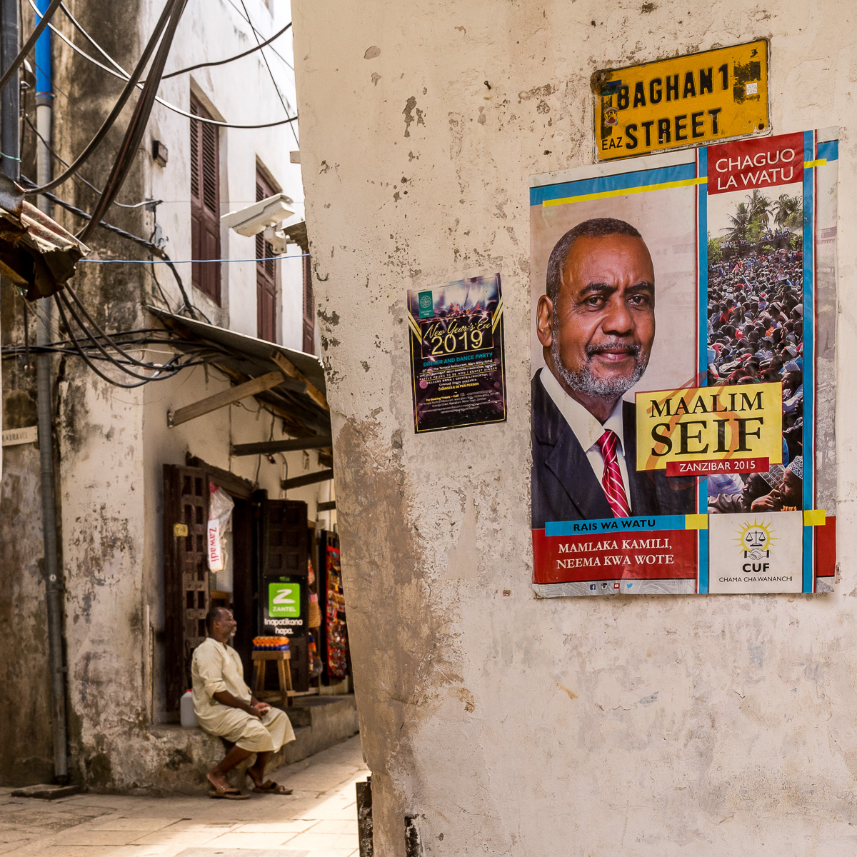 Political posters and CCTVs in Stone Town, Zanzibar. © Andy Morgan