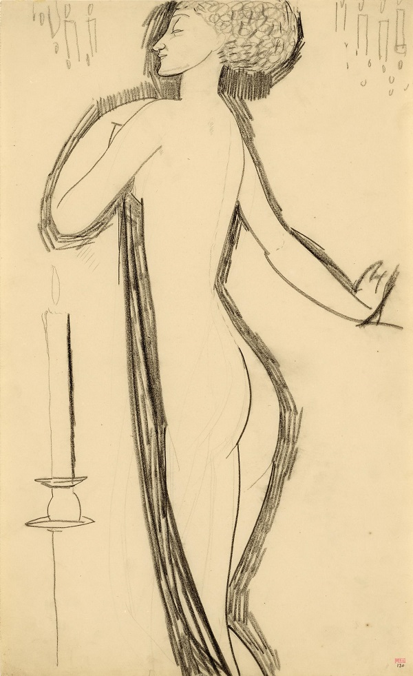 Amedeo Modigliani, Standing Nude in Profile with Lighted Candle, c1911, black crayon, Courtesy: Richard Nathanson, London