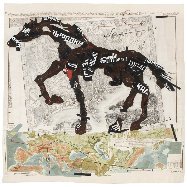 William Kentridge, 'Streets of the City', 2009 Tapestry weave with embroidery, woven by the Stephens Tapestry Studio