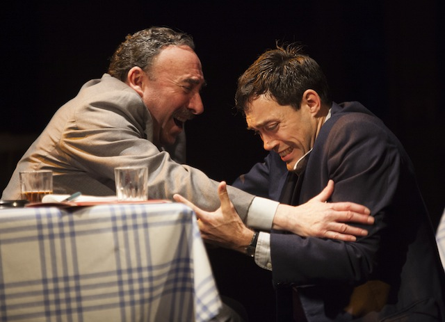 Anthony Sher as Willy Loman (left) and Alex Hassell as Biff in Death of a Salesman