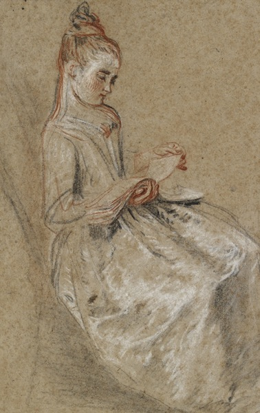 Watteau, Girl Seated with a Book of Music on her Lap