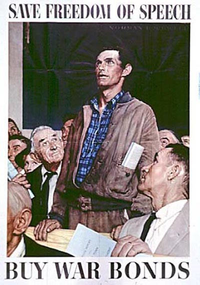 Norman Rockwell: Save Freedom of Speech, from Four Freedoms, 1943