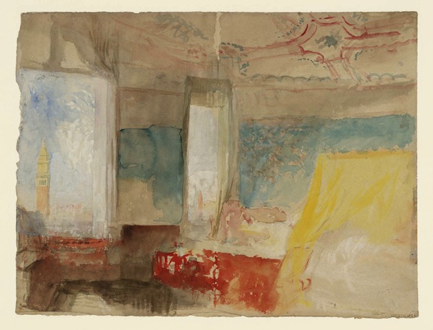 JMW Turner, Turner's Bedroom in the Palazzo Giustinian (the Hotel Europa), Venice, c.1840