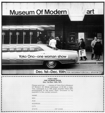 Advertisement for Museum of Modern (F) Art, 1971 Published in Village Voice, December 2, 1971 Private collection © Yoko Ono