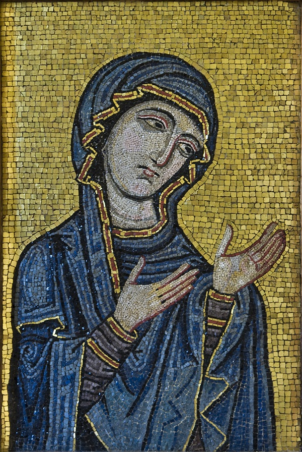 Byzantine-style mosaic showing the Virgin as Advocate for the Human Race. Kept at Museo Diocesano di Palermo, originally from Palermo Cathedral, c.1130-1180 AD. Museo Diocesano di Palermo