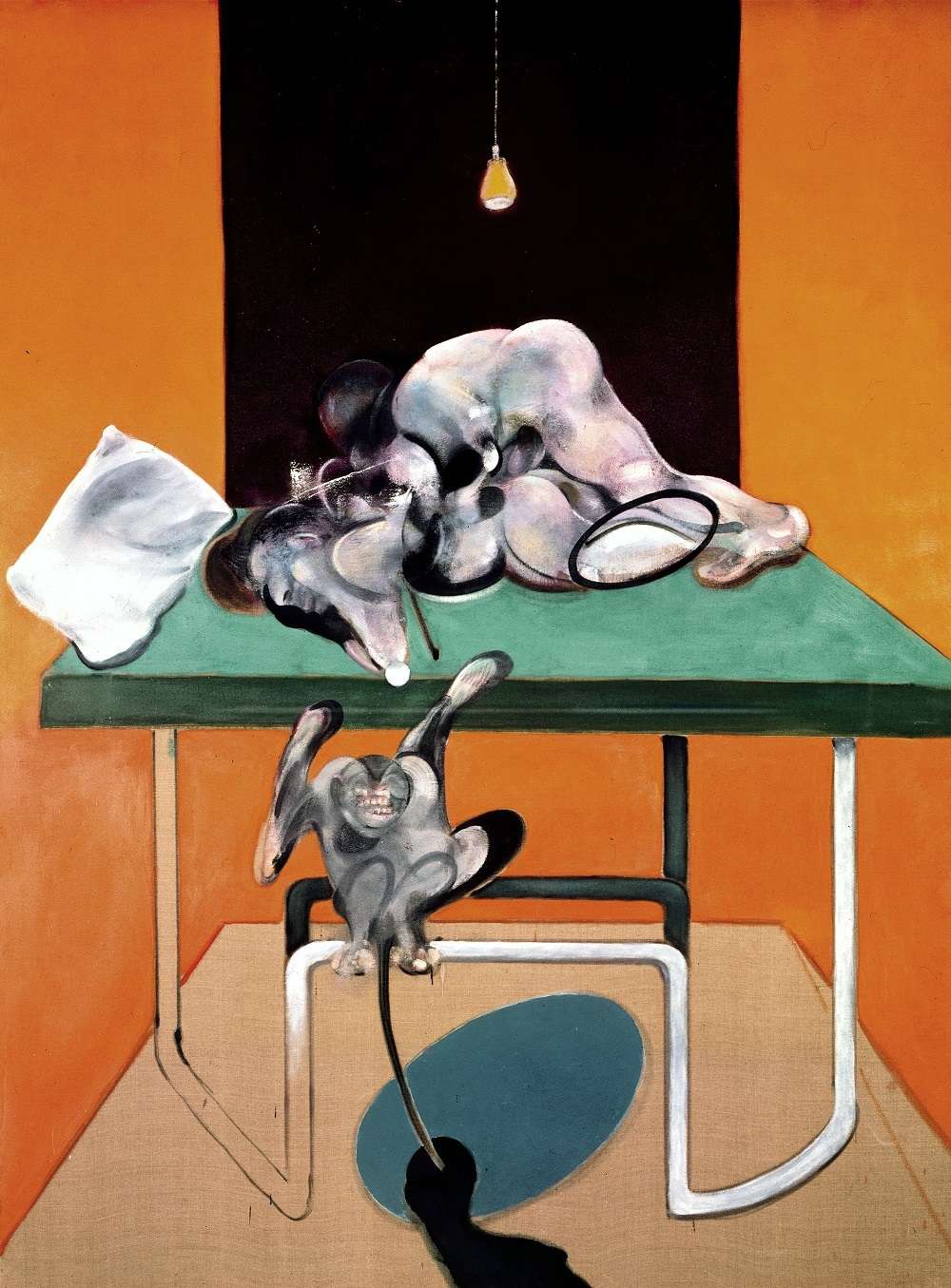 Francis Bacon Two Figures with a Monkey​, 1973 Oil on canvas 78 x 58 1/8 in 198 x 147.5 cm © The Estate of Francis Bacon. All rights reserved, DACS/Artimage 2019 Photo: Prudence Cuming Associates Ltd Courtesy Gagosian
