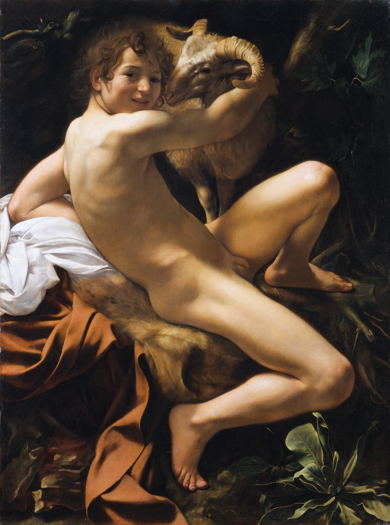 Michelangelo Merisi da Caravaggio, 'St John the Baptist' Rome, c. 1602 Canvas, 129 × 95 cm Rome, Musei Capitolini, Pinacoteca Capitolina © Sovrintendenza Capitolina, Musei Capitolini – Pinacoteca Capitolina, Roma