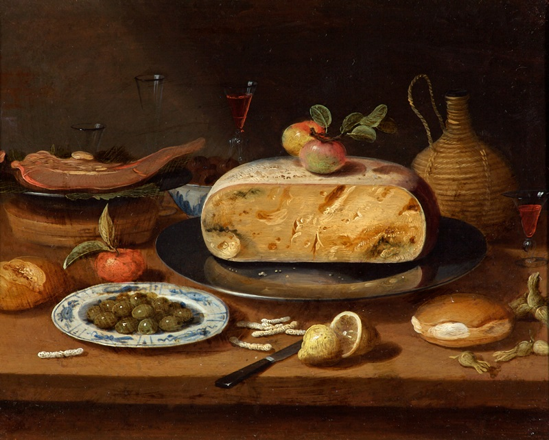 Still Life with Cheese circle of Jan Van Kessel the Elder  c. 1650 Oil on copper,   © Holburne Museum