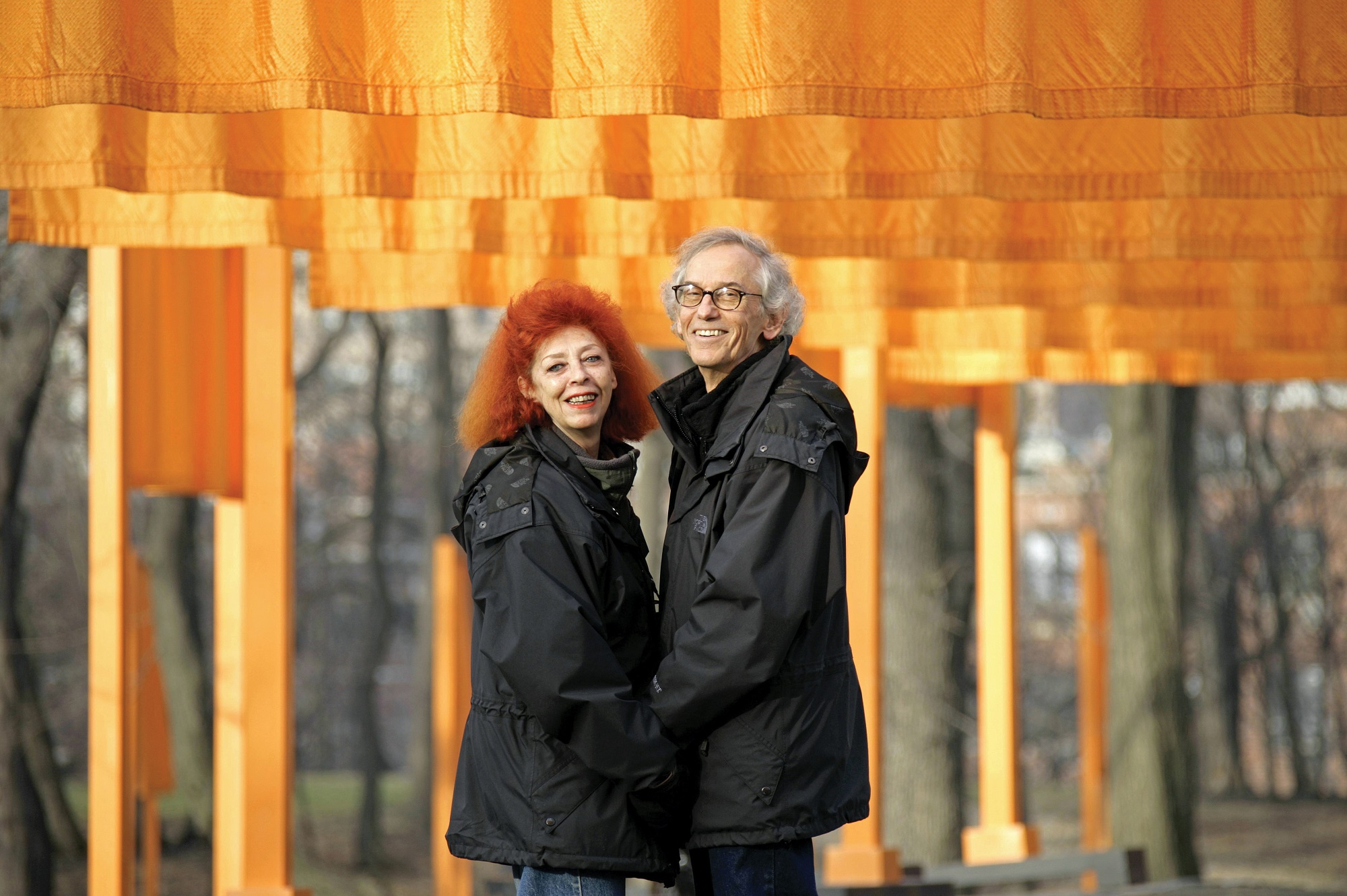 Christo and Jeanne-Claude at The Gates, February 2005 Photo: Wolfgang Volz