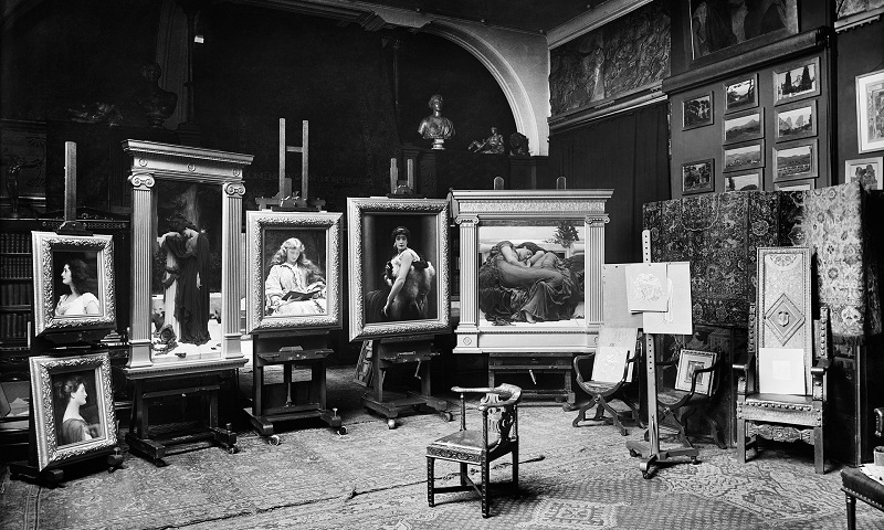 'Flaming June' and the other paintings he submitted to the Summer Exhibition of 1895 photographed in his studio in 1895. Photograph: Bedford Lemere/The Historic England Archive