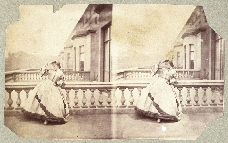 Clementina Hawarden (1822-1865), Sterograph of Isabella Grace on the terrace, 5 Princes Gardens: Photographic Study c.1861-62,  2 albumen prints on stereo card, Victoria and Albert Museum