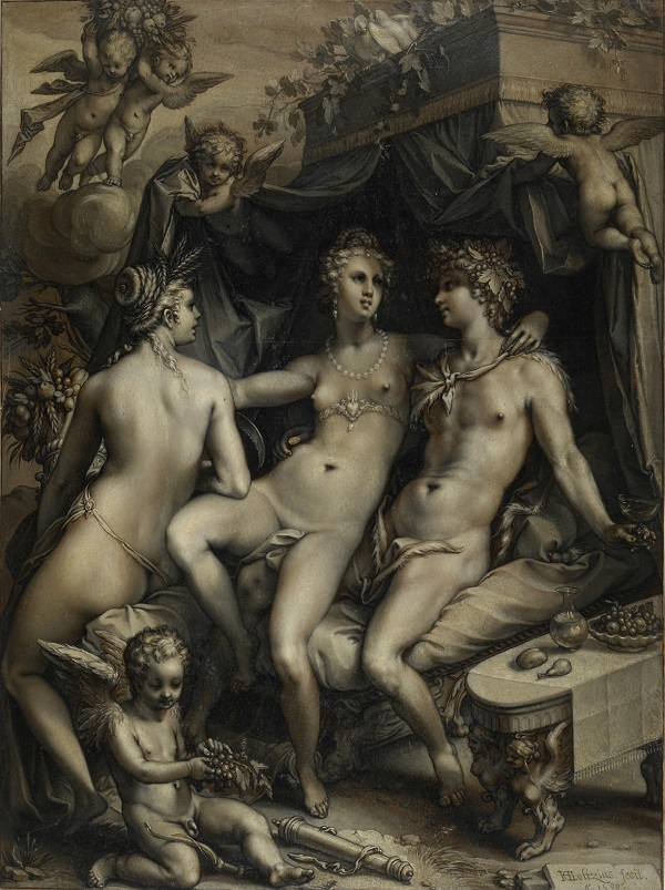 Hendrik Goltzius, Without Ceres and Bacchus, Venus Would Freeze, 1599, © The Trustees of The British Museum