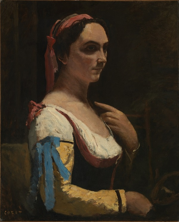 Jean-Baptiste-Camille Corot, Italian Woman, or Woman with Yellow Sleeve (L'Italienne), about 1870, Oil on canvas, © The National Gallery, London