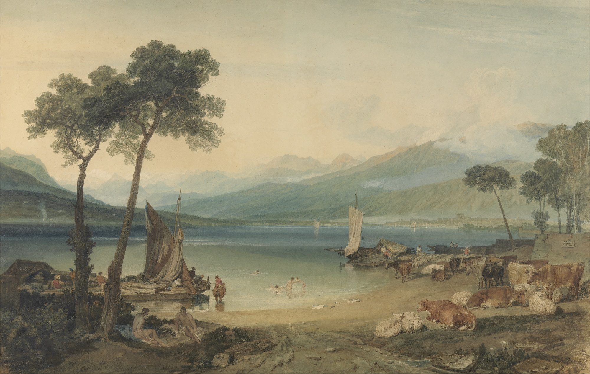 Joseph Mallord William Turner, Lake Geneva and Mount Blanc, 1802 to 1805, Watercolour, Yale Center for British Art, Paul Mellon Collection