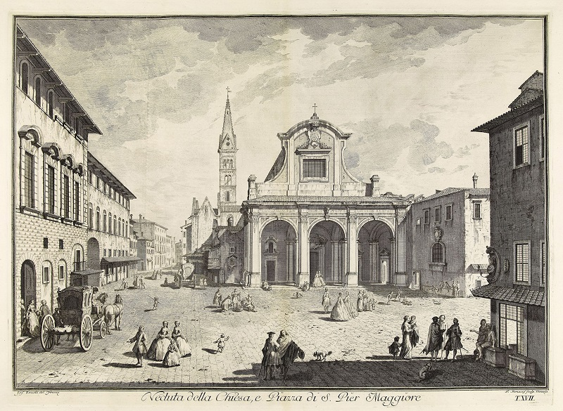 Giuseppe Zocchi, View of Church of San Pier Maggiore, 1744 Album, etching with engraving © The Trustees of The British Museum