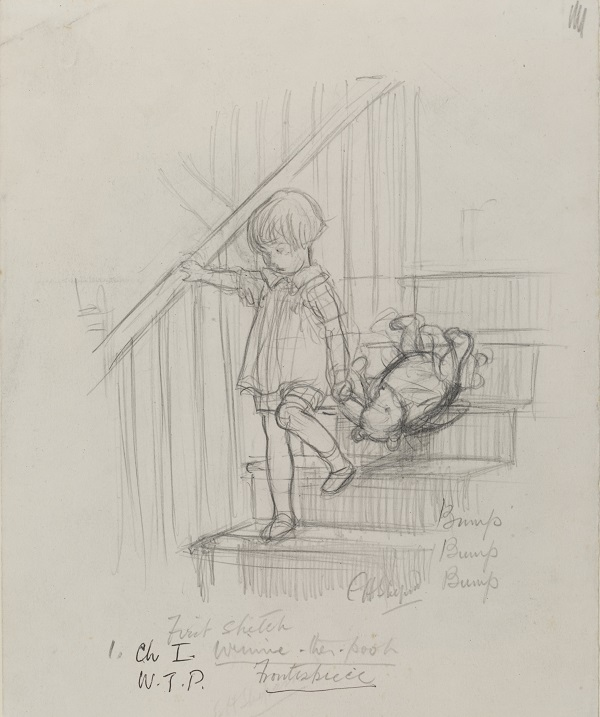 'Bump, bump, bump', Winnie - the - Pooh chapter 1,  pencil drawing by E. H.  Shephard, 1926. © The Shepard Trust, reproduced with permission from Curtis Brown