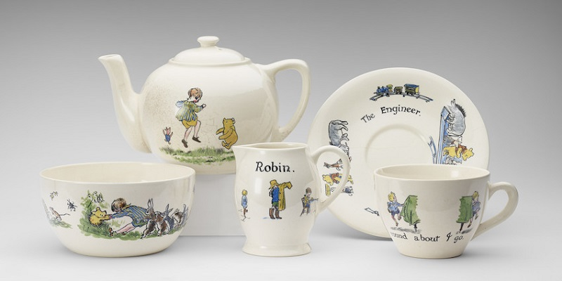 Christopher Robin ceramic tea - set presented to Princess  Elizabeth, han d - painted, Ashtead Pottery,  1928  Photograph: Royal Collection Trust /© Her Majesty Queen Elizabeth II 2017.
