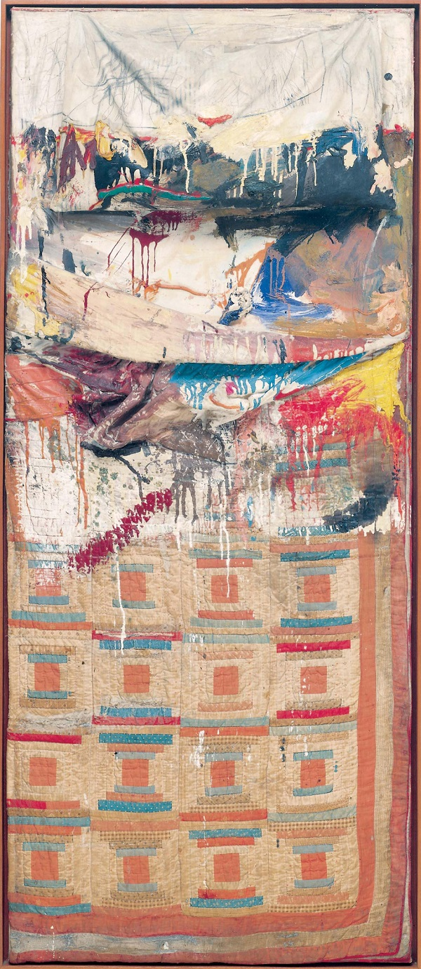 Bed, 1955  Combine painting: oil, pencil, toothpaste, and red  fingernail polish on pillow, quilt (previously owned  by the artist Dorothea Rockburne), and bedsheet mounted on  wood supports, The Museum of Modern Art, New York  Gift of Leo Castelli in honour of Aldred H. Barr, Jr. © Robert Rauschenberg Foundation, New York  Image: The Museum of Modern Art, New York/Scala, Florence