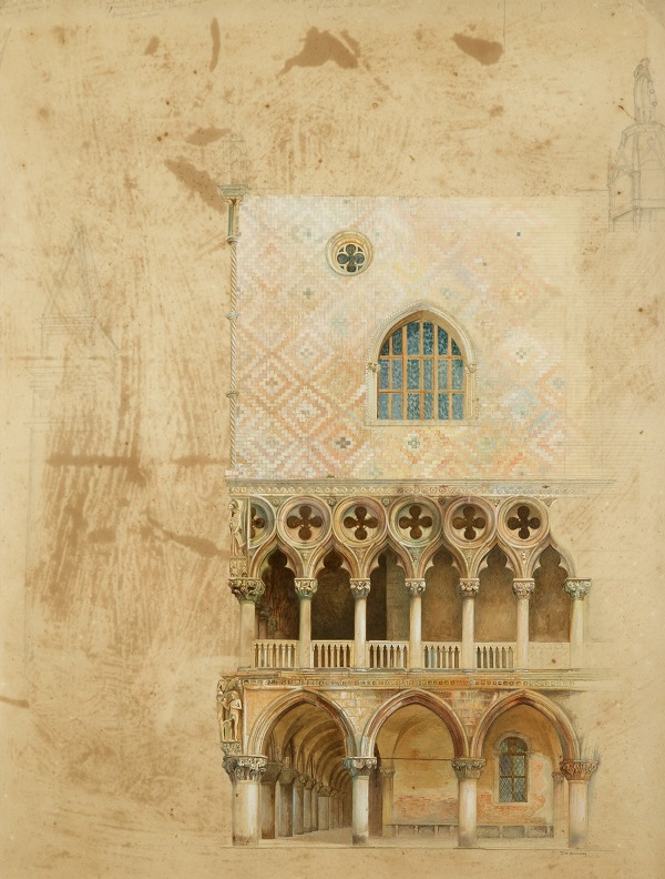J. W. Bunney  South West Corner of the Doge's   Palace, Venice  1871  Watercolour, pencil and bodycolour on paper   © Collection of the Guild of St George / Museums Sheffield