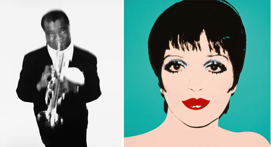 Left: Richard Avedon, Louis Armstrong, musician, Newport Jazz Fesitival, Newport, Rhode Island, May 3, 1955, Gelatin silver print; Right: Andy Warhol, Liza Minelli, 1976, Acrylic and silkscreen ink on linen, The Andy Warhol Museum, Pittsburgh © 2015