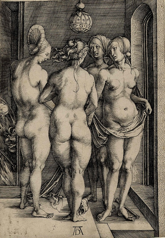 Albrecht Dürer,  The Four Witches, 1497, Engraving © The Trustees of the British Museum