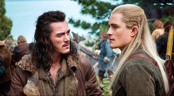 Luke Evans as Bard, Orlando Bloom as Legolas