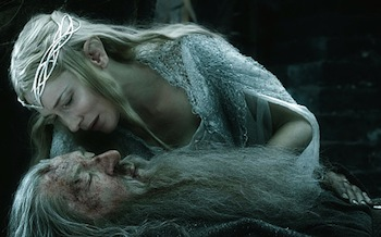 Cate Blanchett as Galadriel, Ian McKellen as Gandalf