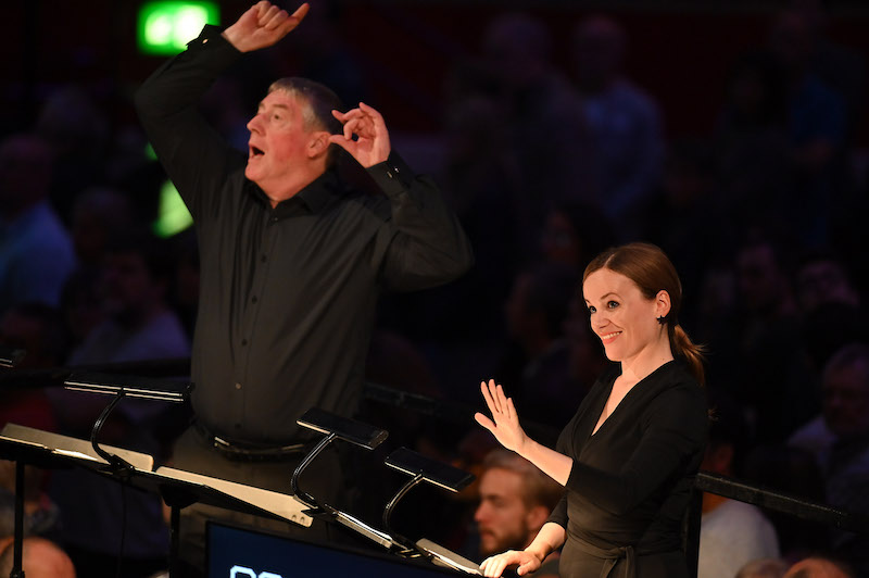 Conductors David Temple and Laurel Neighbour at the BBC Proms