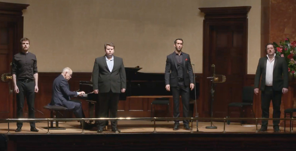 Four singers and pianist in Wigmore Winterreise