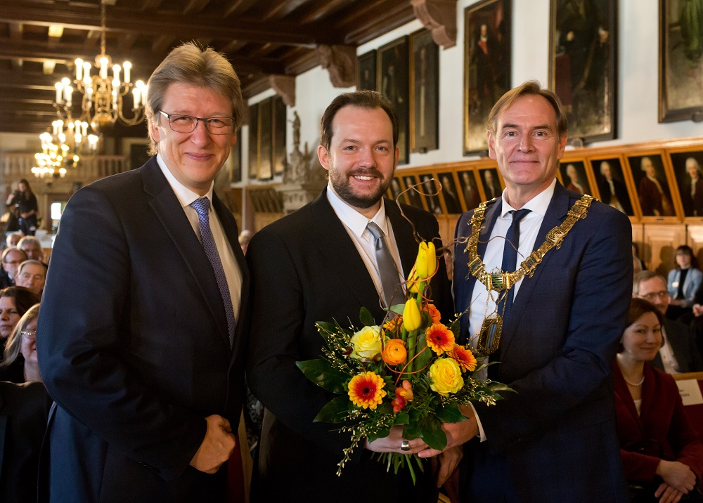 Andreas Schulz, Andris Nelsons and Burkhard Jung in the Altes Rathaus