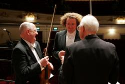 Deneve with RSNO violinist Edwin Paling and viola-player John Harrington
