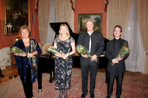Susan Bullock, Janice Watson, Richard Berkeley Steele and Llyr Williams at the German Ambassador's Residence