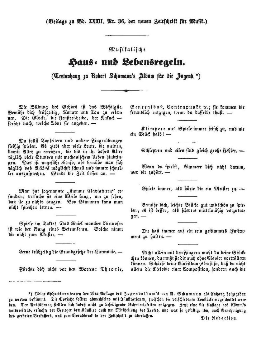 Schumann's Advice to the Young in German