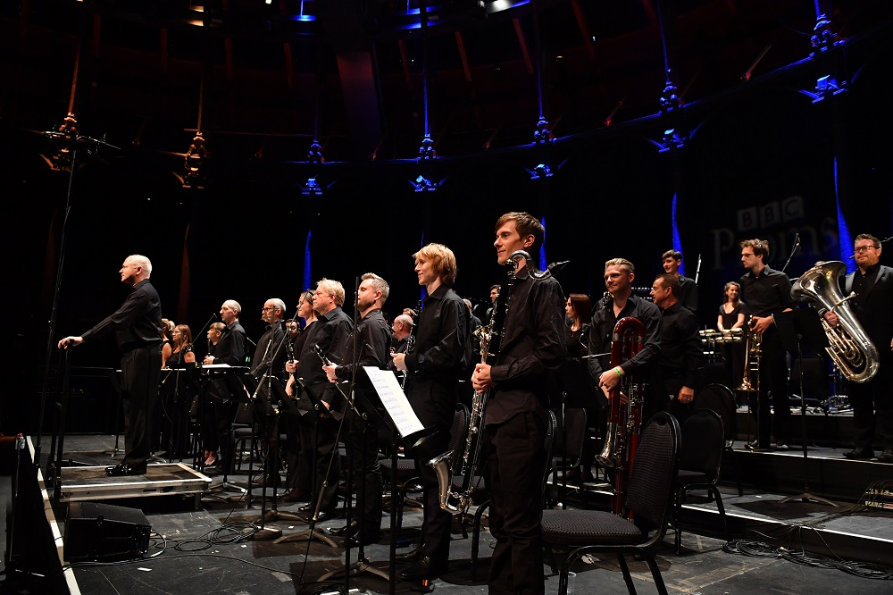 George Benjamin and London Sinfonietta players at the Roundhouse