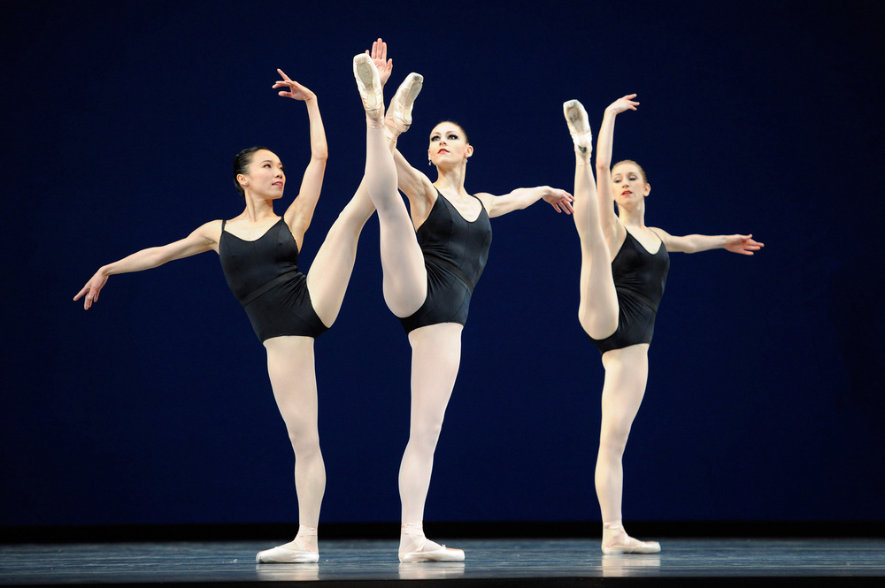 Frances Chung, Sofiane Sylvie, and Jennifer Stahl in George Balanchine's Agon, performed by San Francisco Ballet