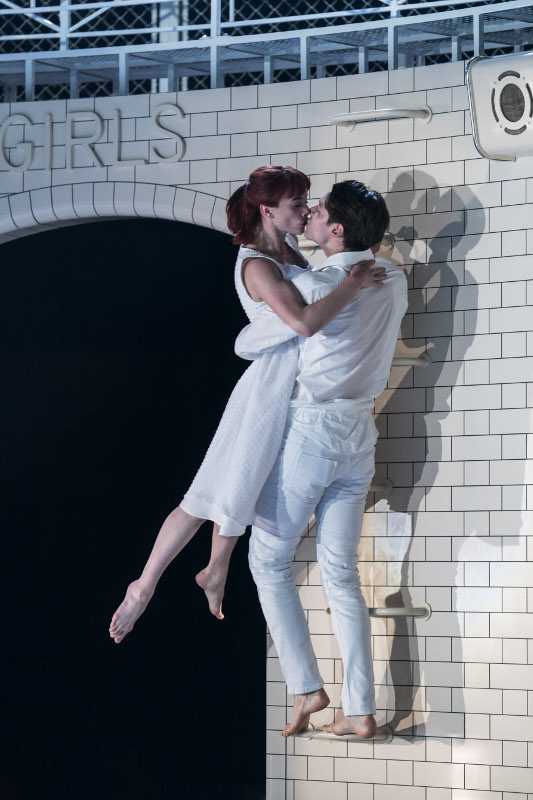 Cordelia Braithwaite and Paris Fitzpatrick as Romeo and Juliet in Matthew Bourne's production. Photo by Johan Persson.