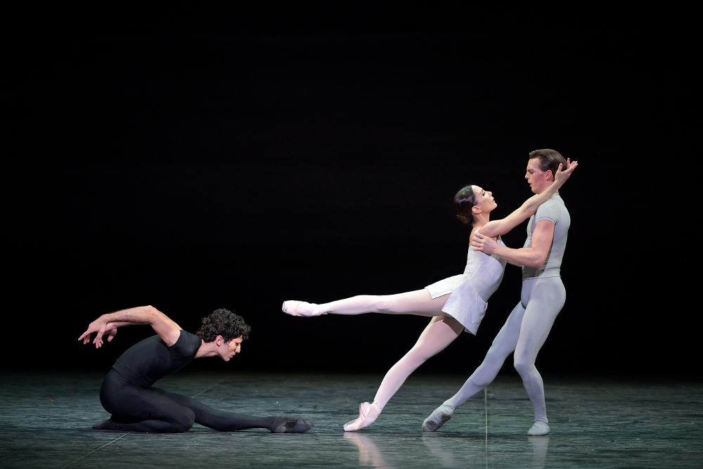 Fernando Carratalá Colomo, Tamara Rojo and Joseph Caley in Kenneth MacMillan's Song of the Earth. Photo by Laurent Liotardo.