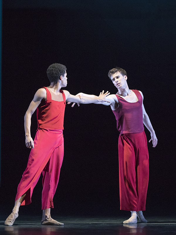 Joseph Sissens and Calvin Richardson in Wayne McGregor's 'Yugen' at the Royal Ballet. Photo by Andrej Uspenski.
