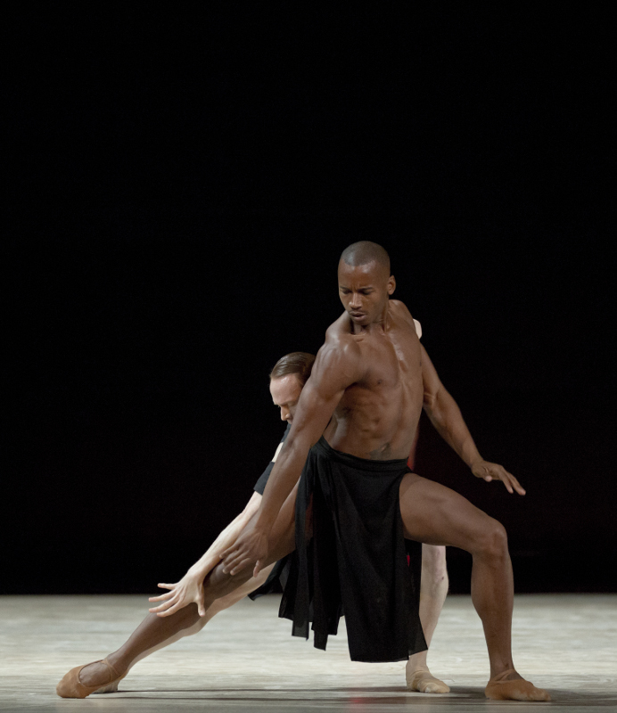 Edward Watson (back) and Eric Underwood (front) in Wayne McGregor's new 'Obsidian Tear'