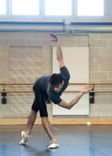 A dancer from Wayne McGregor/Random Dance in rehearsal for Outlier